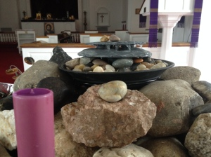 water bubbling up through the rocky journey of faith. Photo by Terri