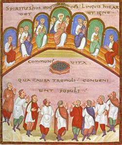 Holy Spirit as Breath, at Pentecost, from Art in the Christian Tradition, a project of the Vanderbilt Divinity Library, Nashville, TN. http://diglib.library.vanderbilt.edu/act-imagelink.pl?RC=55188 [retrieved June 4, 2014]. Original source: http://commons.wikimedia.org/wiki/File:CodexEgberti-Fol103-Pentecost.jpg.