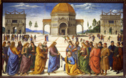 Perugino, approximately 1450-1523. Christ gives the keys of the kingdom to Peter, detail, from Art in the Christian Tradition, a project of the Vanderbilt Divinity Library, Nashville, TN.