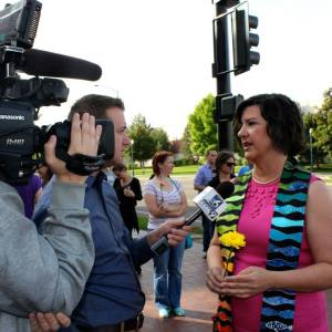 RevGal Marci Glass at a Marriage Equality rally in Boise, Idaho (May, 2014).