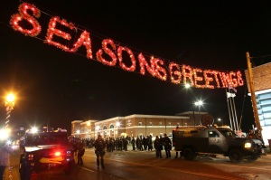 Season's Greetings: Police officers in armored vehicles stand guard in front of the Ferguson police department on November 24, 2014 in Ferguson, Missouri.  Justin Sullivan/Getty Images/AFP