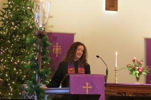 The Reverend Stacey Simpson Duke preaches at First Baptist Church, Ann Arbor, Michigan