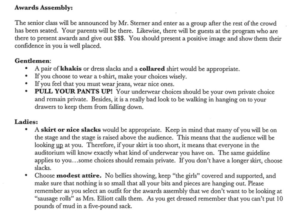 Satirical essay on dress code