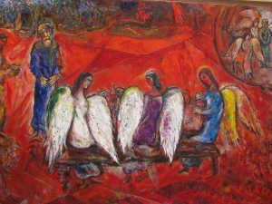Chagall, Marc, 1887-1985. Abraham and the Visitors at Mamre, from Art in the Christian Tradition, a project of the Vanderbilt Divinity Library, Nashville, TN.