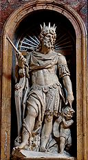 Statue of King David by Nicolas Cordier in the Borghese Chapel of the Basilica di Santa Maria Maggiore.