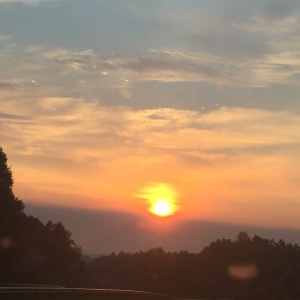 sunset from car