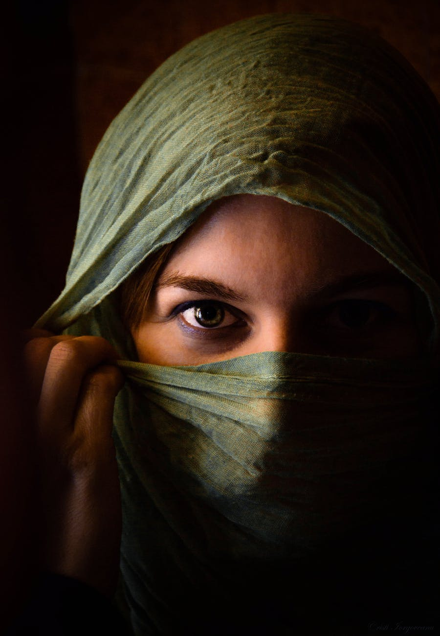 woman in green hijab