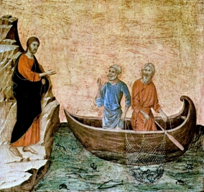 Panel painting of Jesus on the shore calling Peter and Andrew from their fishing boat.